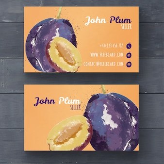 Business card with watercolor plums