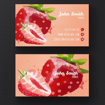 Business card with watercolor strawberries