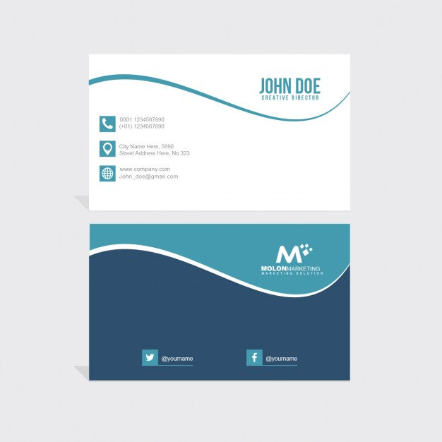 Business card with wavy lines