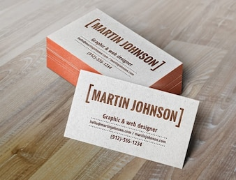 Business cards mockup with letterpress