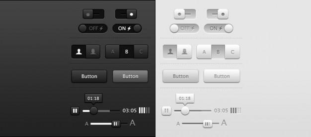 Buttons dark grey light sliders toggles ui