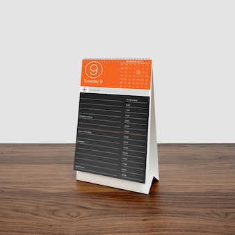 Calendar on wooden desktop  mock up