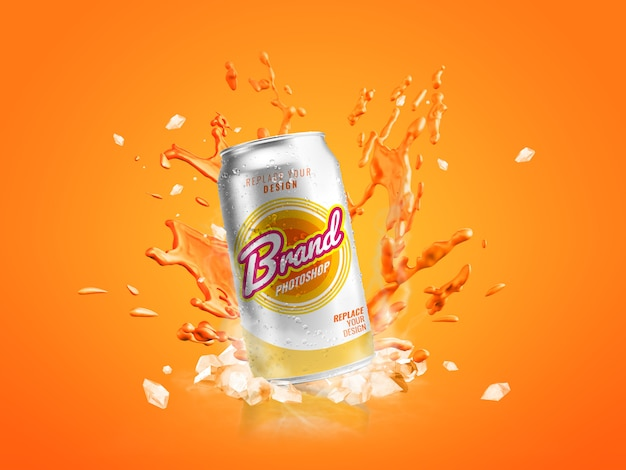 Can splash advertising mockup