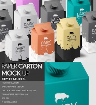Carton bottle mock up design