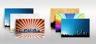 City background with colorful sunburst