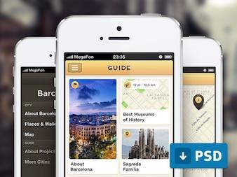 City guide screens app maps