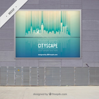 Cityscape modern outdoor billboard mock up