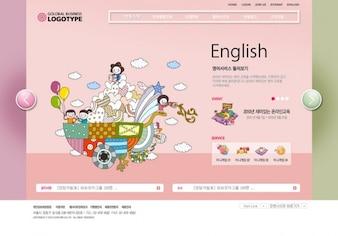 Colorful cartoon template interface design