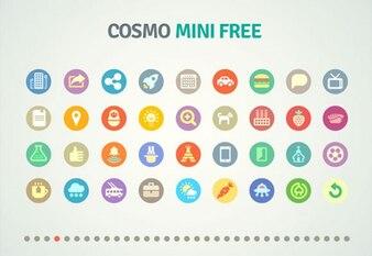 Colorful mini icons PSD