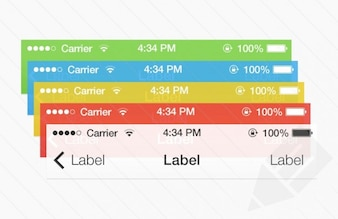 Colorful UI elements PSD material