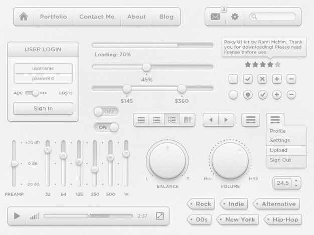 Complete ui elements with white interface