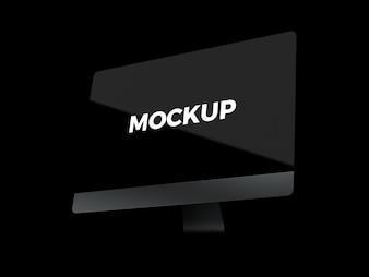 Computer on black background mock up