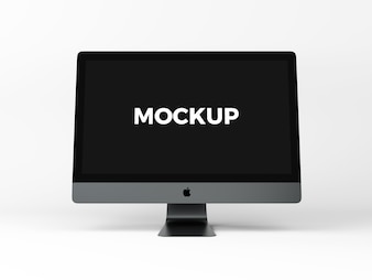 Computer on white background mock up