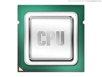 Computer processor, CPU icon (PSD)