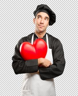 食べ物を愛する疑わしい若者の概念