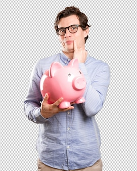Concept of a satisfied young man saving money