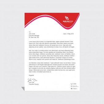 Corporate brochure with red wavy shapes