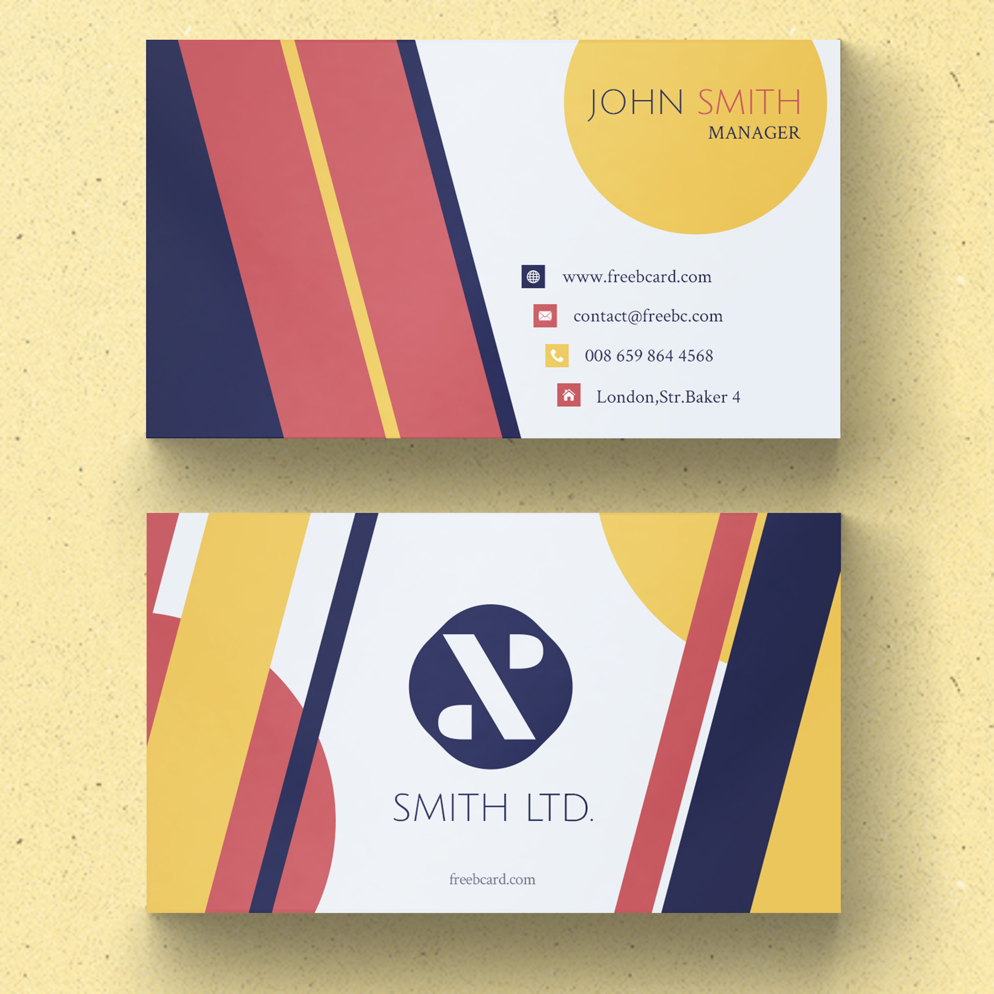 Corporate business card with colorful geometric shapes