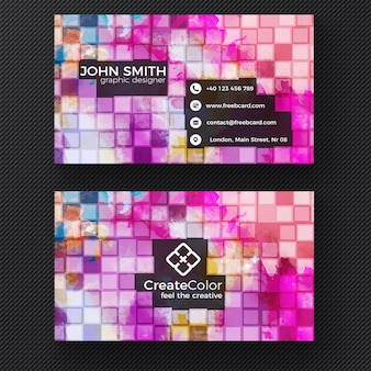 Creative business card on pixel background