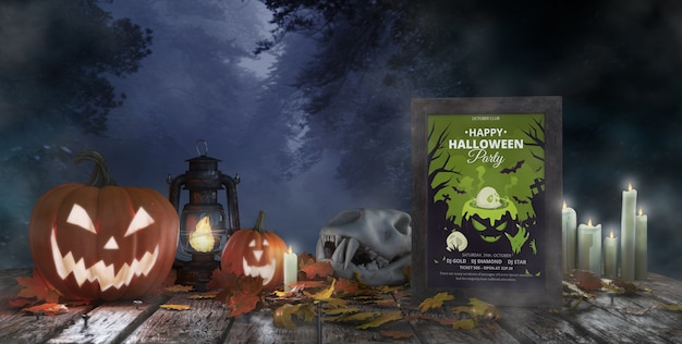 Creepy halloween arrangement with movie poster and pumpkins
