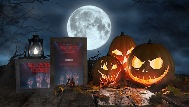 Creepy halloween arrangement with scary pumpkins and framed horror posters