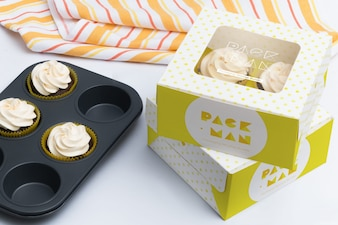 Cupcake box mock up design