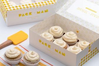 Cupcake boxes mock up design