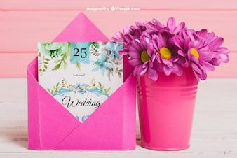 かわいい結婚式のアイデアのモックアップ