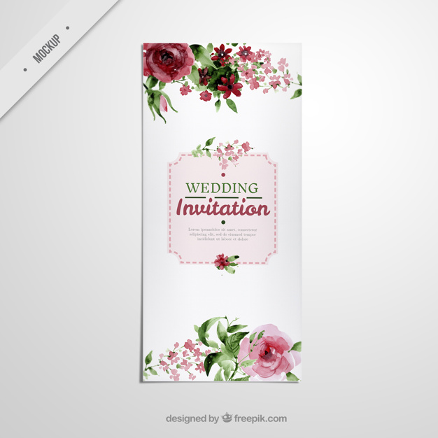 Cute wedding long flyer with watercolor roses