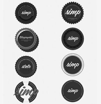dark grey vintage circle badges set psd