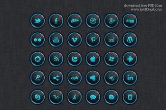 Dark social media icons PSD