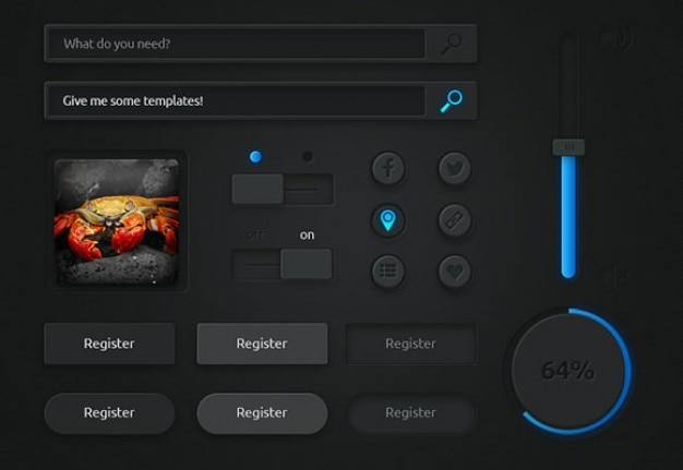 Dark user interface with blue lights