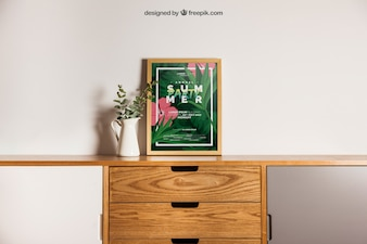 Decorative frame mockup on desk