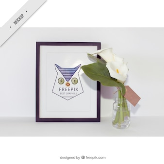 Decorative frame with beautiful flowers