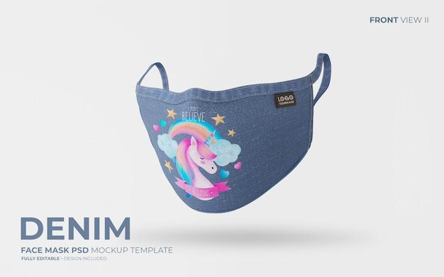 Denim face mask mockup with cute design