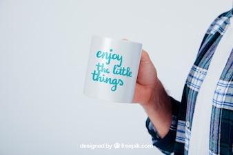 Design of mock up with coffee mug