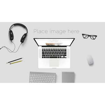 Desktop mock up with glasses and headphones