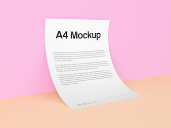 Document on pink background mock up