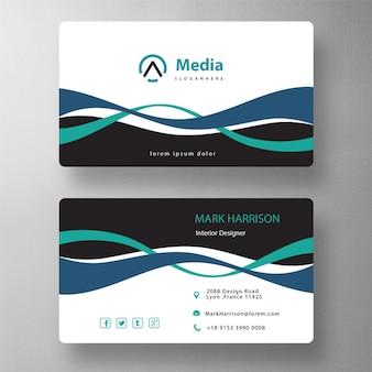 Double wavy shape business card