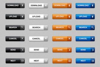 のPSD&PNGパックのWebボタンをダウンロードする