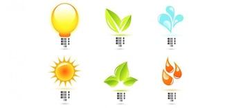 eco bulb vector logo templates