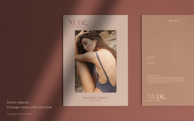 Elegant brochure mockup with soft shadow