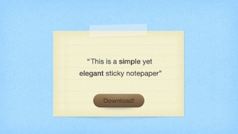 Elegant sticky notepaper with download button