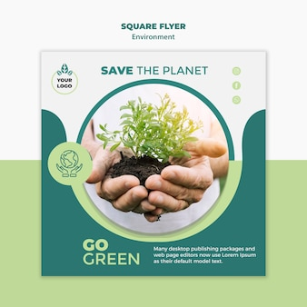 Environment square flyer mock-up
