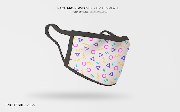 Face mask mockup in righ side view