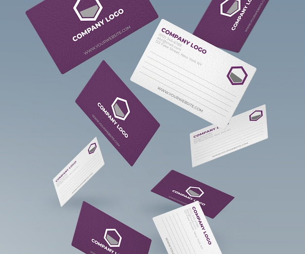 Falling bussiness cards mockup