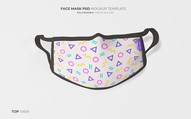 Fashion face mask mockup in top view