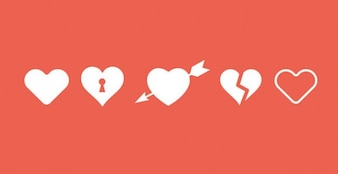Five heart icons shapes PSD