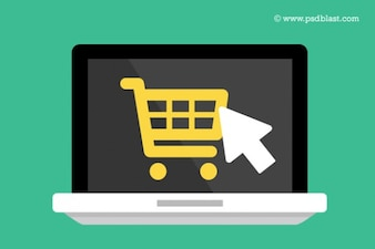 Flat laptop icon with shopping cart