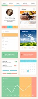 Flat web elements PSD template